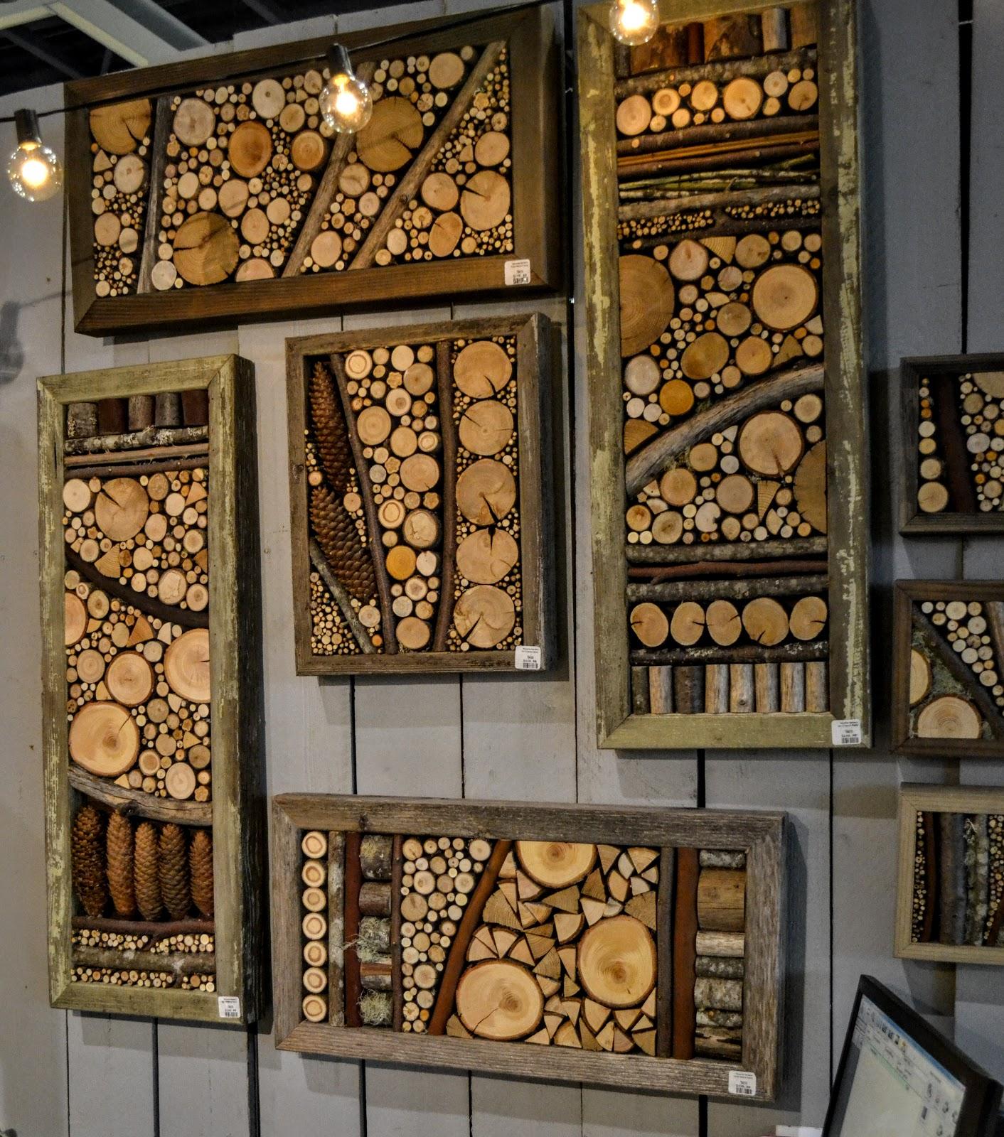 Комбинированное панно из спилов дерева