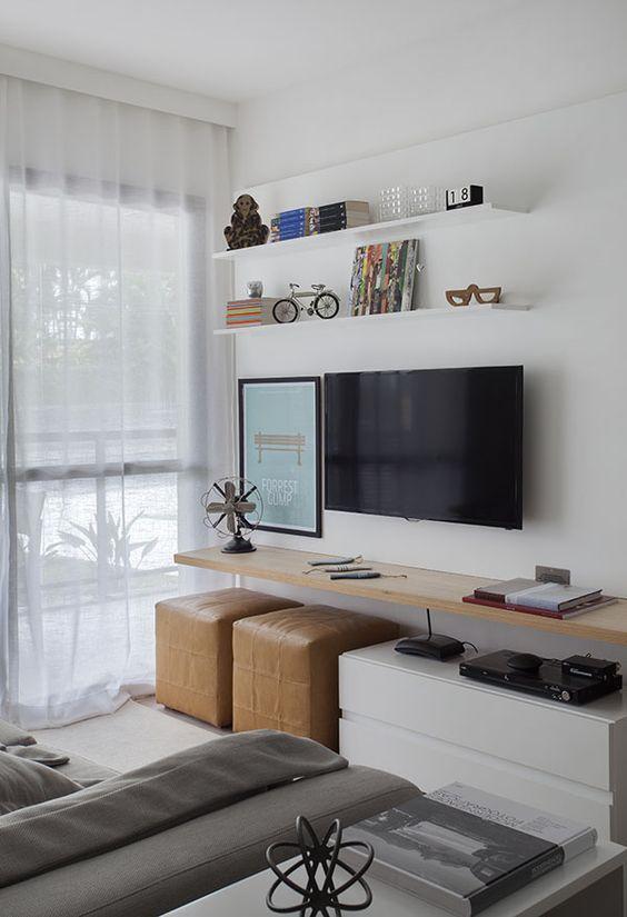Мини стенка под телевизор с пуфами