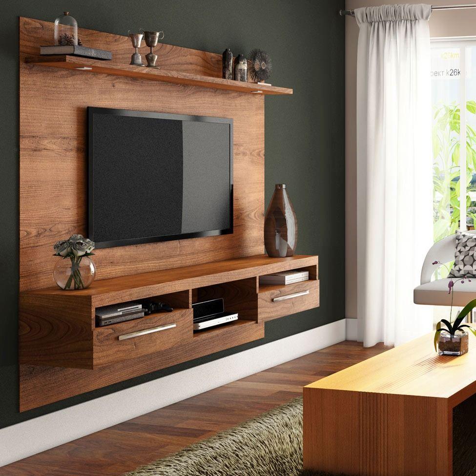 Консоль для ТВ древесного декора, тумба закреплена к подвесной панели